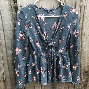 Floral front tie babydoll bell sleeve top